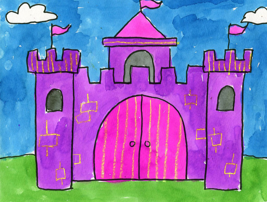 paint a watercolor castle art projects for kids