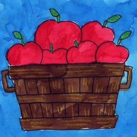 how to draw apples in a basket