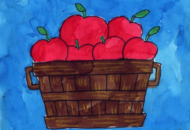 apple drawing for kid