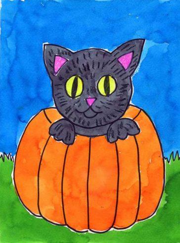 Halloween Cat Painting