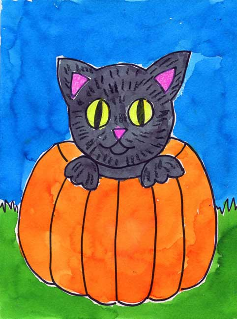 This Halloween Cat Painting Has A Pretty High Cute Factor And Is Easy To Draw Too It Also Very Symmetrical Which Big Plus For Young Artists