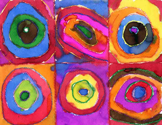Kandinsky circles art projects for kids for Watercolor painting and projects