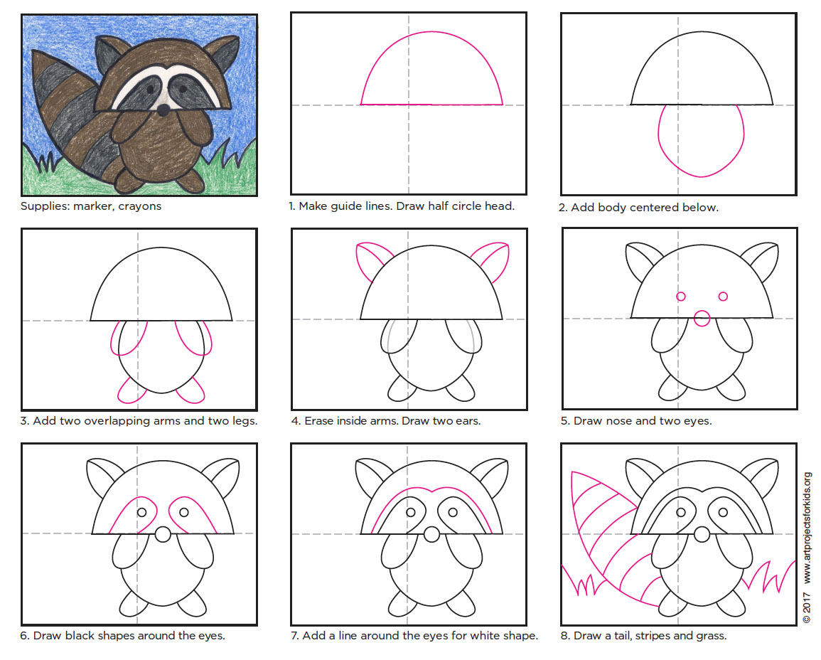 heres one way to draw a simple but very cute cartoon raccoon i found it to work really well with kinder through 5th graders
