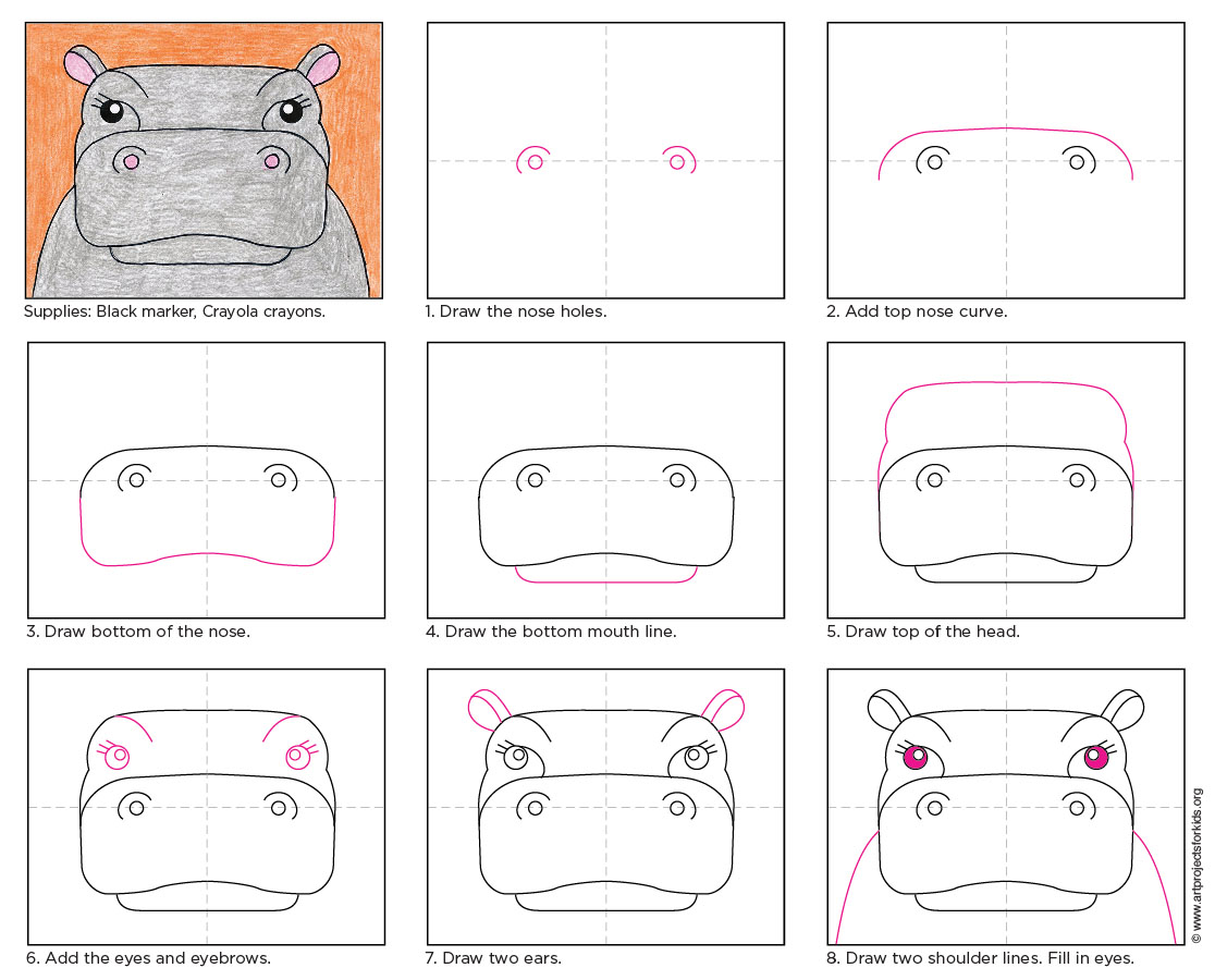Draw a hippo face art projects for kids this hippo drawing helps students focus on the animals interesting features and fill their paper at the same time ccuart