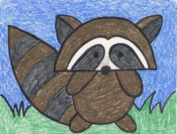 cute raccoon drawing