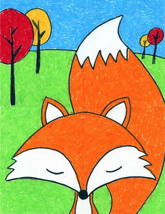 cartoon fox drawing