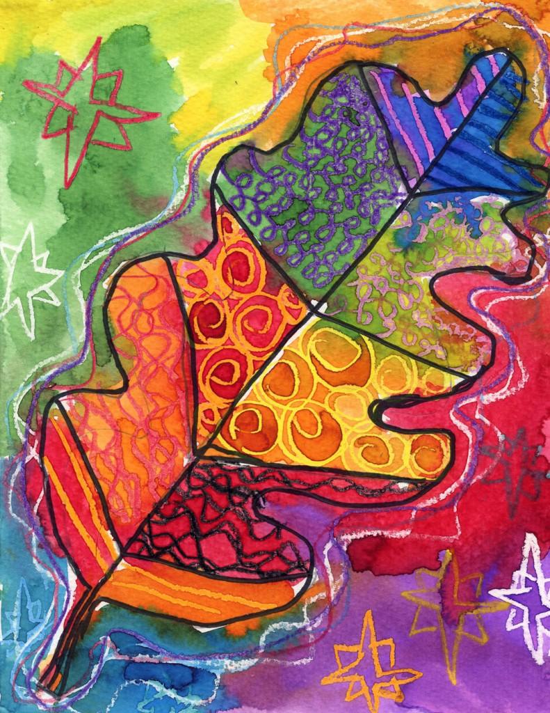 leaf pattern watercolor resist art projects for kids