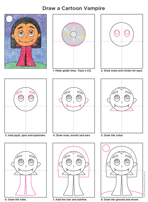 Draw A Cartoon Vampire Art Projects For Kids
