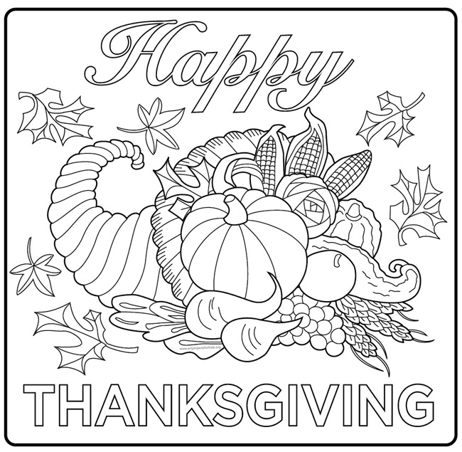 happy thanksgiving coloring pages - photo#32