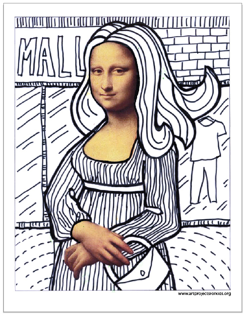 Contour Line Drawing Of Mona Lisa : Fun with mona lisa · art projects for kids