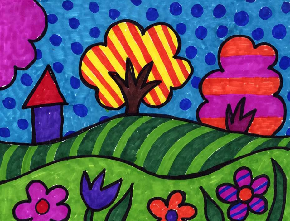 If you take some simple landscape shapes and add lots of bright patterns and color you can end up with a very fun pop art landscape drawing