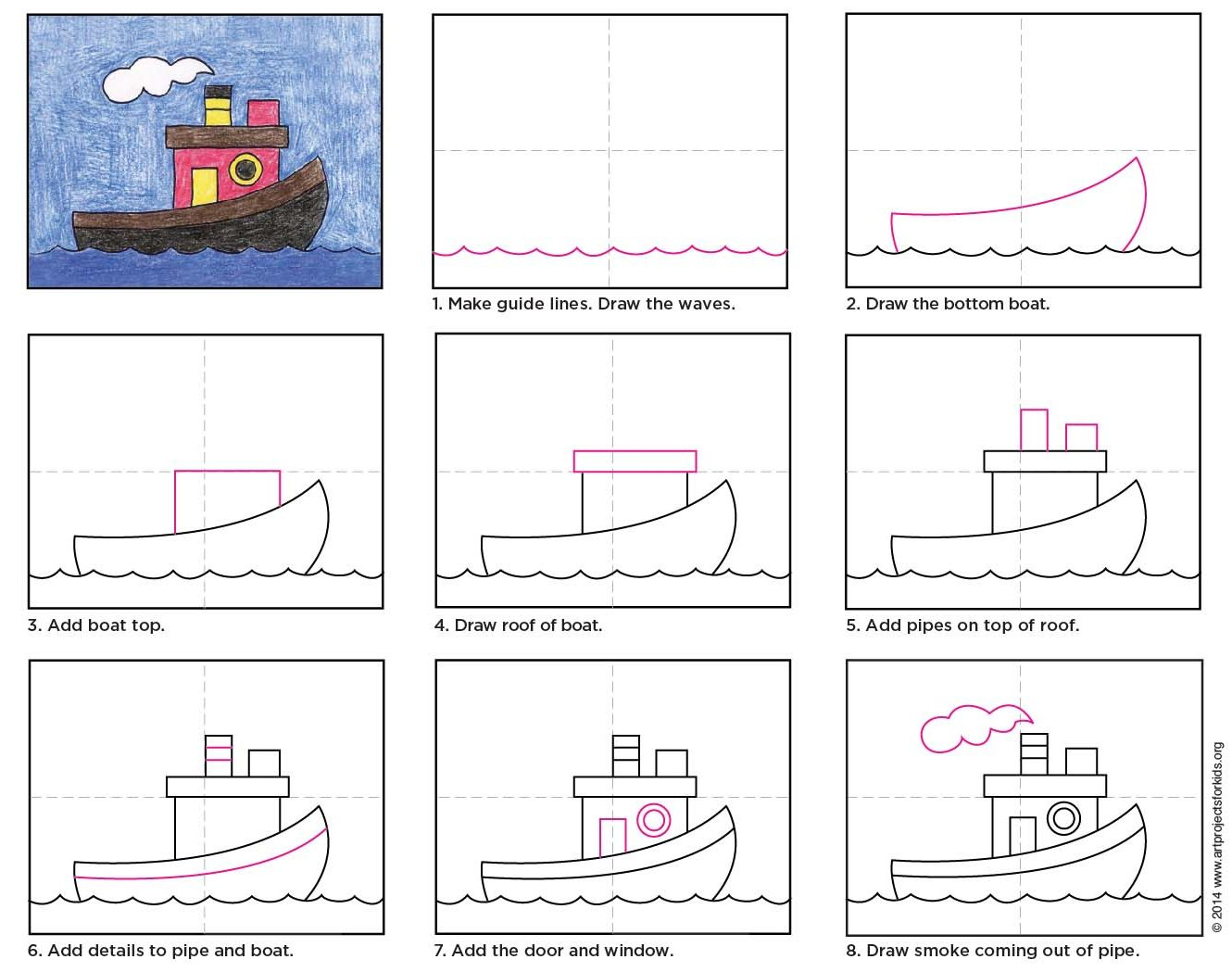 Draw a Tugboat · Art Projects for Kids