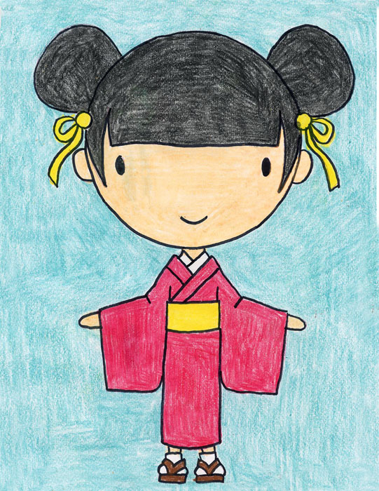 Draw A Girl In A Kimono Art Projects For Kids