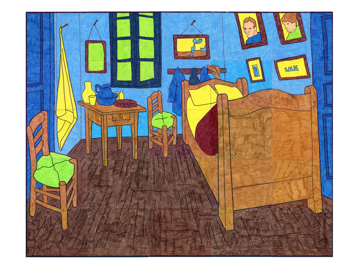 Van gogh bedroom mural art projects for kids for Mural van gogh