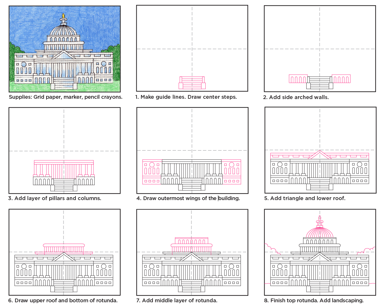 Us capitol art projects for kids for Construction of house step by step