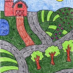 farm drawing for kids