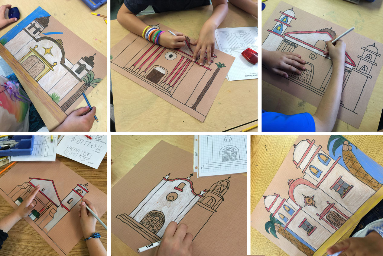 mission drawings on brown paper · art projects for kids