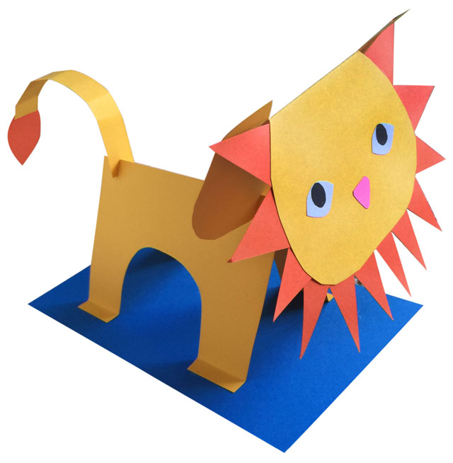 3D Paper Lion  Art Projects for Kids