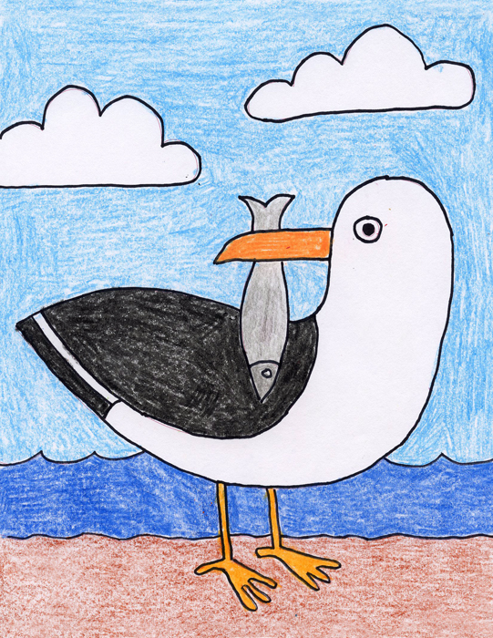 heres a pretty simple way to draw a seagull you can add a fish to his beak for a little more fun