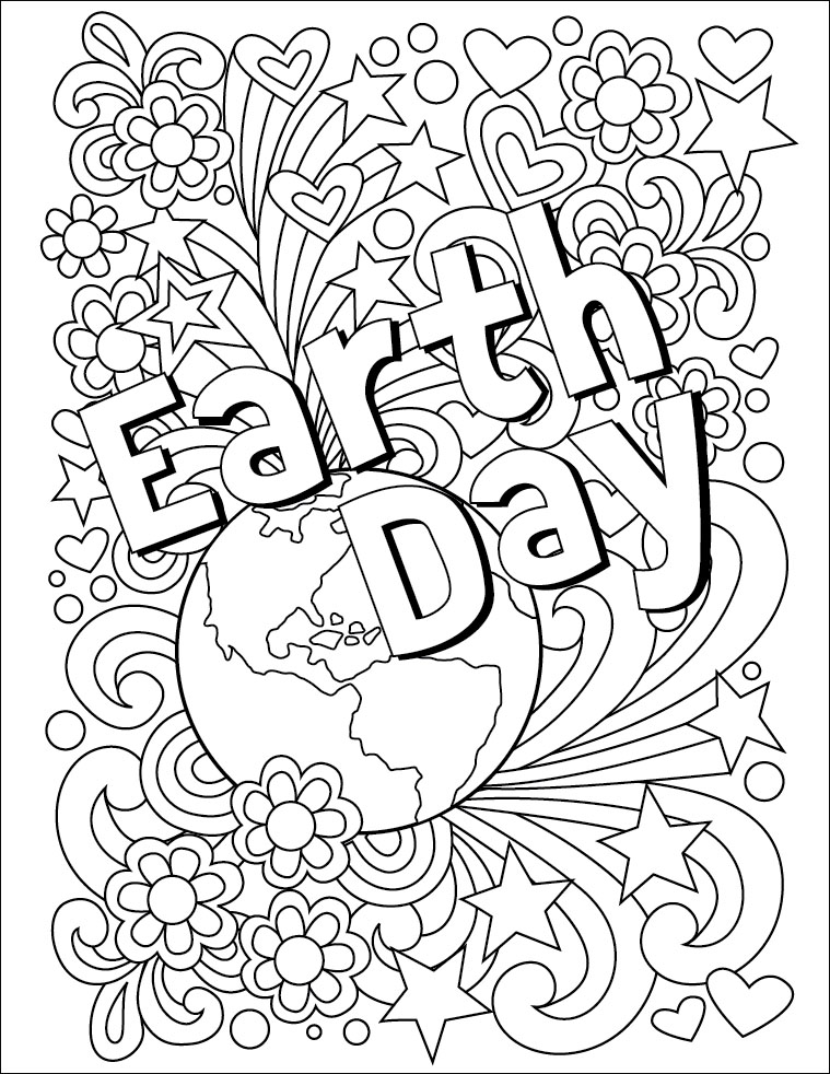 This One Is My Own Creation Based On Earth Day Doodle Mural It Has Lots Of Stars Hearts And Swirls That Are Fun To Color