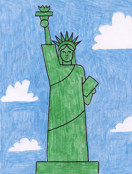 easy statue of liberty tutorial art projects for kids