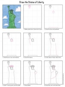 Easy Statue of Liberty Tutorial diagram