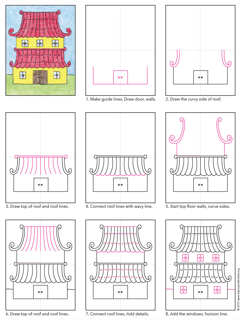 Draw An Asian House Art Projects For Kids
