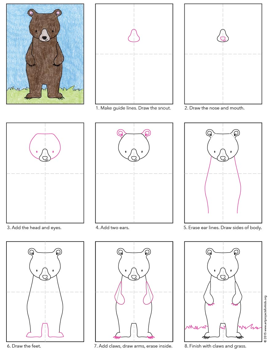 Draw a standing bear art projects for kids easy bear drawing ccuart Images