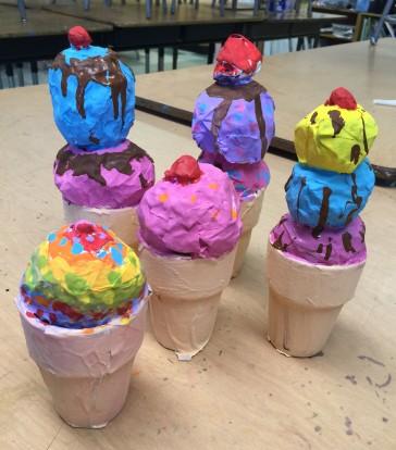 More Paper Mache Ice Cream Cones
