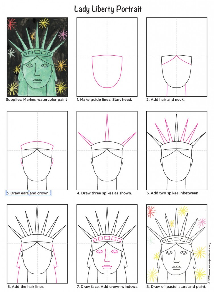 statue of liberty drawing easy