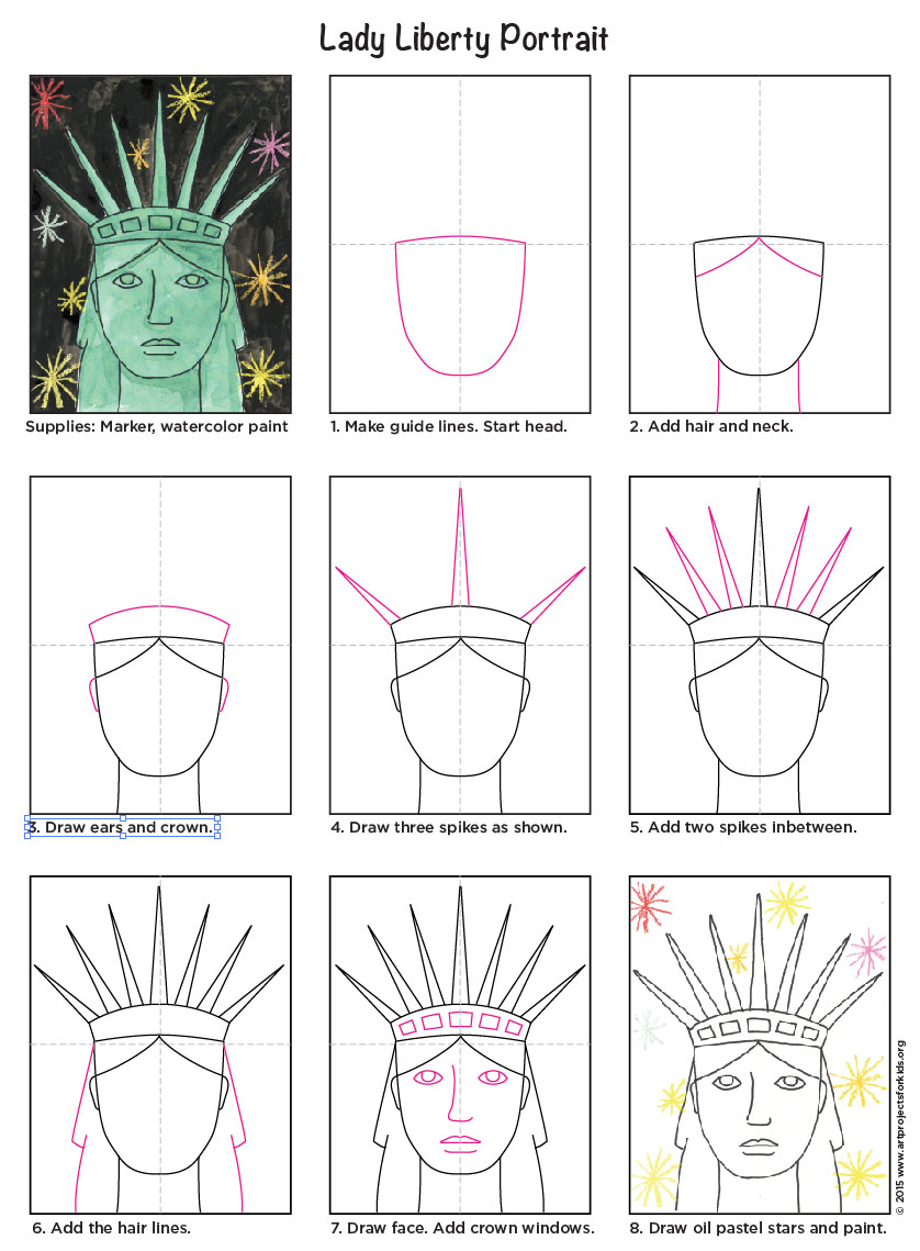 Draw the statue of libertys face art projects for kids i created this how to draw the statue of liberty tutorial for kinders who study us symbols in the spring concentrating on just drawing her face and crown ccuart