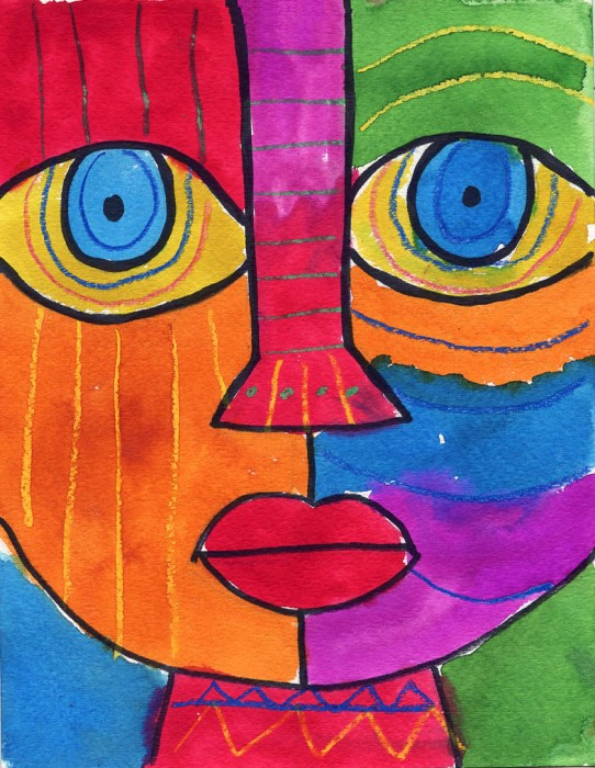 Abstract face art projects for kids for Simple watercolor paintings for kids