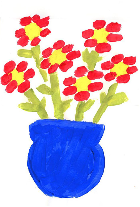 first flower painting art projects for kids