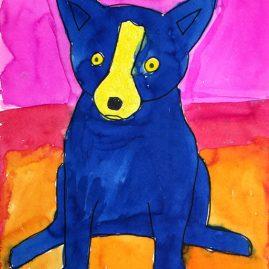 blue dog art project