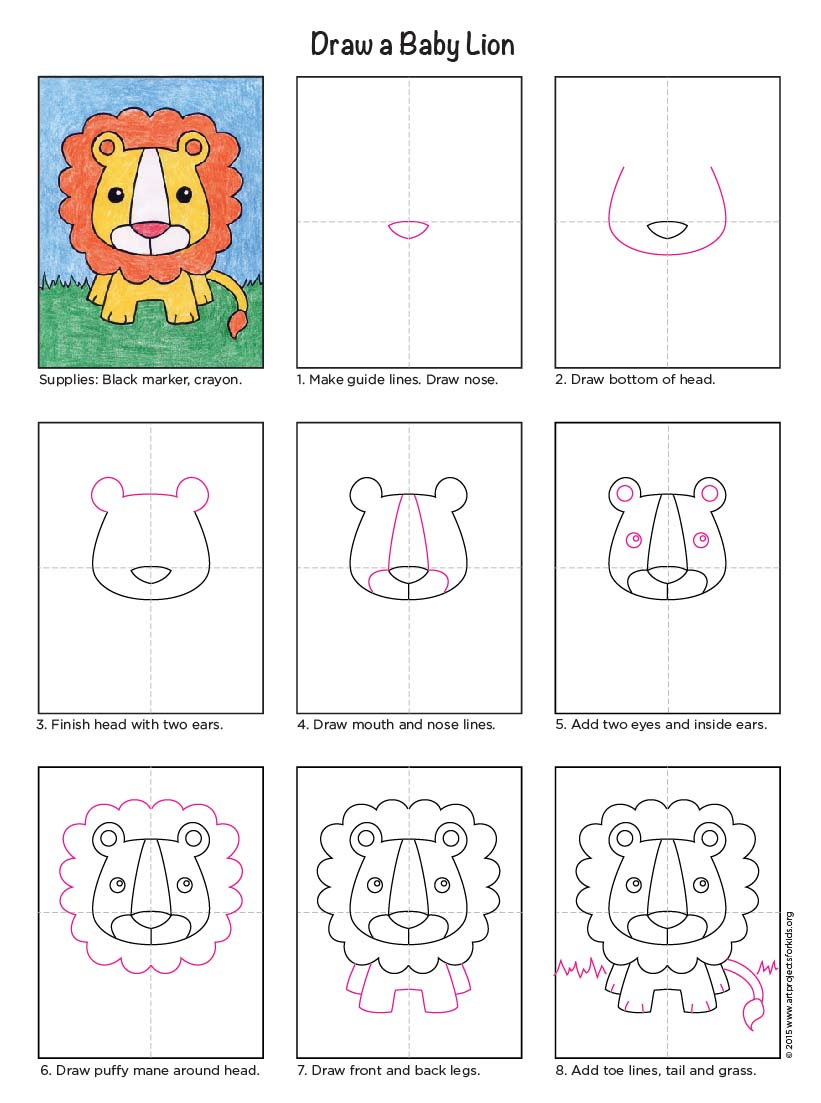 draw a baby lion art projects for kids