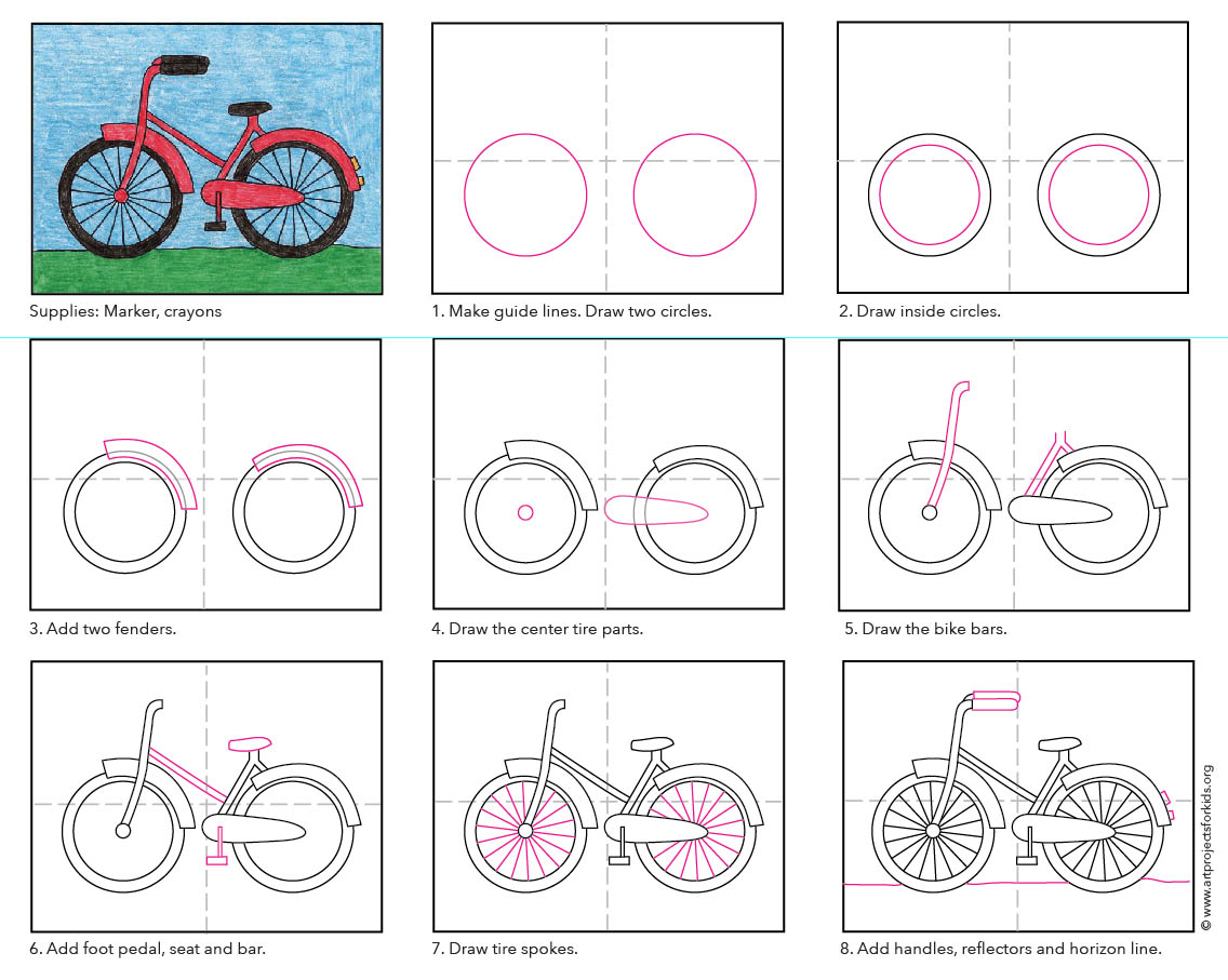 How To Draw A Bike Art Projects For Kids
