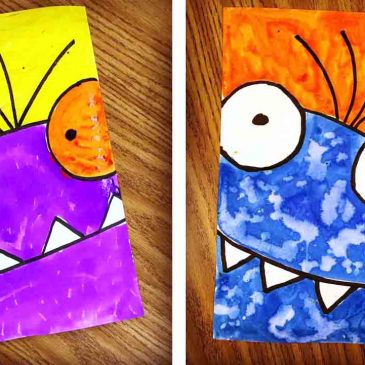 Monster-Face-365x365 Kindergarten And First Grade Art Projects on using shapes, end school, for kindergarten, fall scarecrow, one day, cutest beginning year, eric carle,