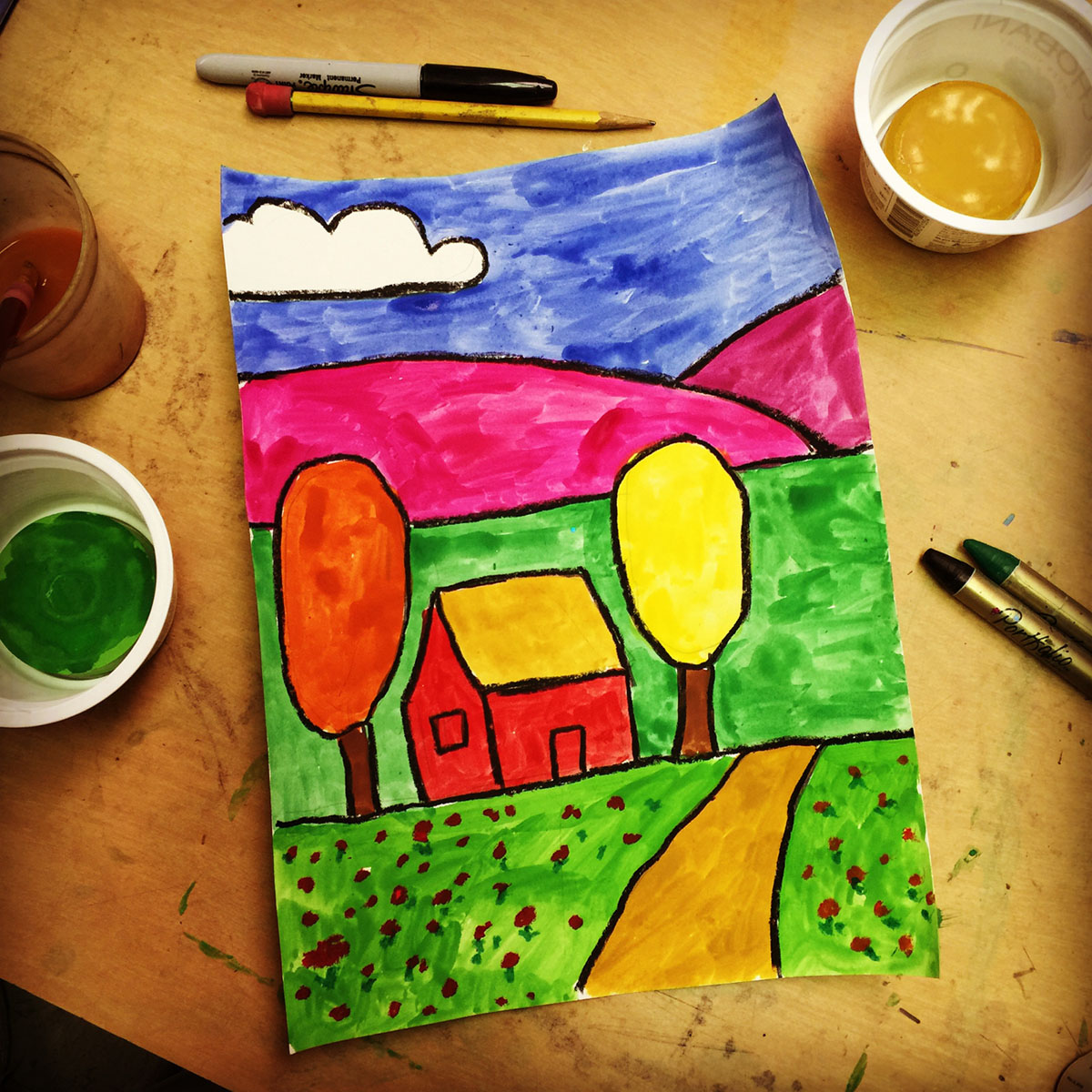 Fall Tempera Landscape Painting - Art Projects for Kids