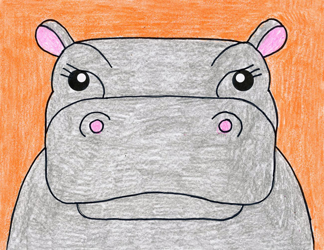 easy hippo drawing
