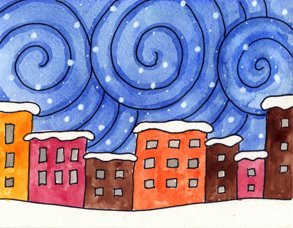 winter painting for kids