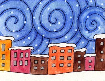 Snowy City Night Painting
