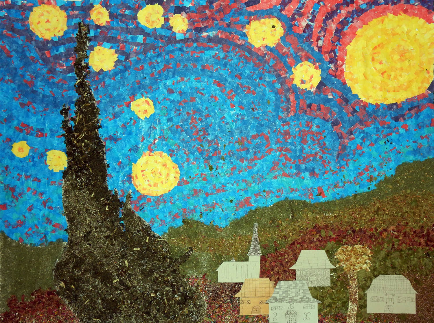 Starry night mural from france art projects for kids for Children s mural artist