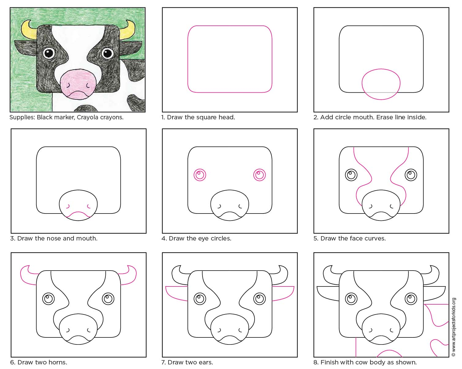 Uncategorized How To Draw Cow draw a cow face art projects for kids this drawing helps students focus on the animals interesting features and fill their paper at same time
