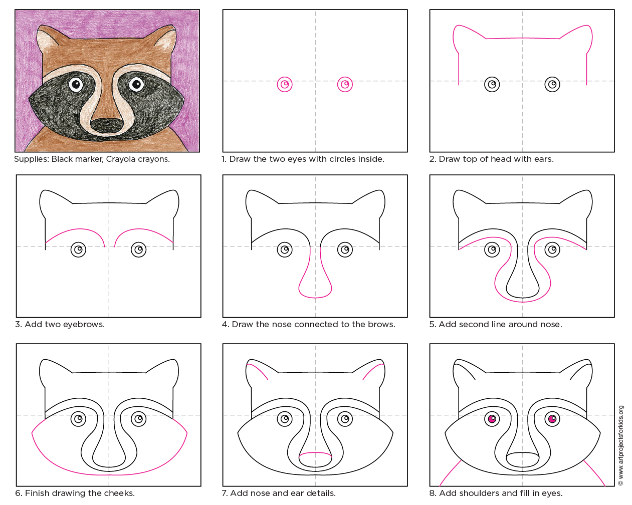 draw a raccoon face art projects for kids