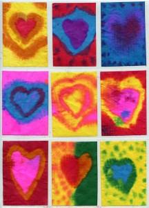 Coffee filter watercolor hearts