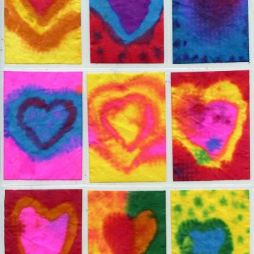Coffee Filter Watercolor Hearts