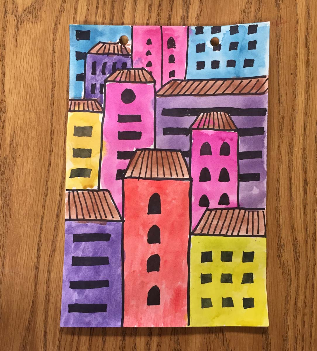 Overlapping buildings art projects for kids for Painting craft projects