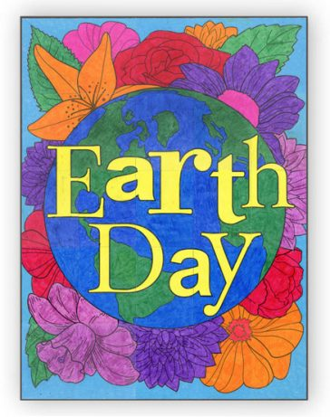 Earth Day Floral Mural Template, $5