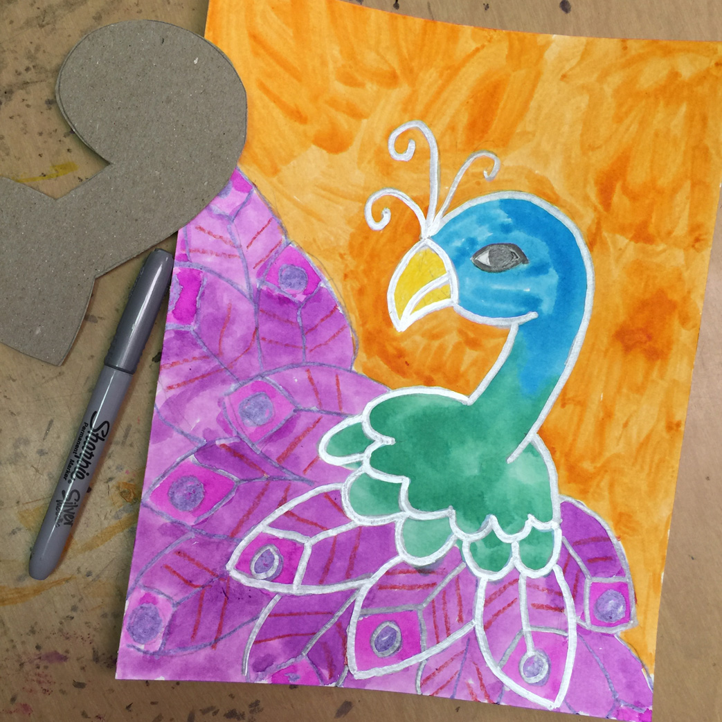 Painting a peacock art projects for kids for Painting craft projects