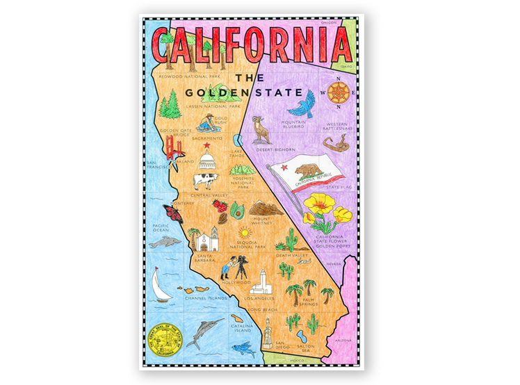 image about Printable Maps for Kids titled California Map Mural